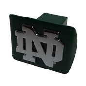"""Notre Dame (open """"ND"""") on green METAL Hitch Cover"""