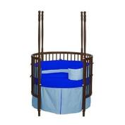Baby Doll Solid Reversible Round Crib Bedding Set, Light Blue/ Royal Blue