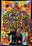 Indian Psychedelic Celestial Elephant Tree Of Life Tapestry ,Good Luck Hand Tie Dye Elephant Tapestry , Hippie Gypsy Wall Hanging , Bhoemain Bed Spread Tapestries , New Age Dorm Tapestry, Bohemain Dorm Decor Elephant Tapestry, Cotton Bedspread Decor Th ..
