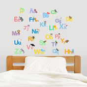 Cute alphabet with animals stickers baby room wall letter art nursery wall decor mural baby educational sticker