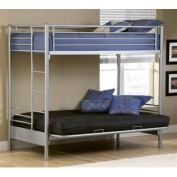 Youth Twin Over Futon Bunk Bed in Silver Finish