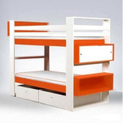 Austin Twin over Twin Bunk Bed with Bookshelves and Storage Mattress Rails & Bottom Headboard Panel