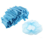 200 Pcs Disposable Stretchy Bouffant Pleated Nurse Dental Anti Dust Hats Blue