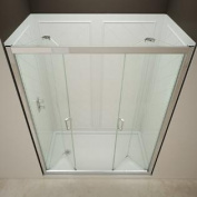 DreamLine DL-6122C-01CL Butterfly Frameless Bi-Fold Shower Door, 90cm by 150cm Single Threshold Shower Base Centre Drain a