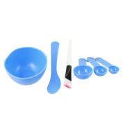 Lady Woman Facial Skin Care Mask Mixing Bowl Stick Brush Gauge 4 in 1 Blue