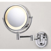 Jerdon 20cm Chrome Finish Dual Sided Surround Light Wall Mount Makeup Mirror