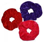 Aadya's SET of 3 Extra Large (Jumbo Size : 16CM - 18CM) Velvet Hair Scrunchies Elastic Scrunchy Hair Bobbles Scrunchy