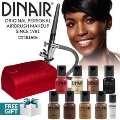 Dinair Airbrush Makeup Kit Personal Professional Dark Shades 4pc Colair Foundation Plus 4pc Bonus Glamour Colours (Shimmer,...