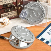 Round Compact Mirror With Anchor Design by Fashioncraft