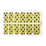 Glitter Black Pentangle Desigh Gold Tone Nail Foils for Woman 12 Pcs