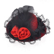 Black Lace Red Flower Mini Hat Top Alligator Hair Clip Barrette for Ladies