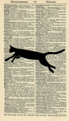 LEAPING CAT ART PRINT - SILHOUETTE Art Print - ARTWORK - ANIMAL Art Print - HOMEWARES GIFT - DICTIONARY PAGE - DICTIONARY ART - VINTAGE Art - Illustration - Vintage Dictionary Art Print - Wall Hanging - Home Décor - Housewares - Book Print - Black & Wh ..