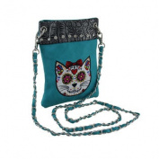 Embroidered Sugar Cat Rhinestone Turquoise Cross Body Purse