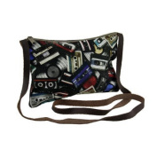 Retro Off the Record Cassette Tape Theme Crossbody Bag w/Leather Strap