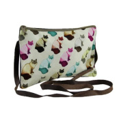 Pretty Kitty Theme Canvas Crossbody Bag w/Leather Strap