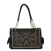 Western Handbag Womens Satchel Crystals Black N7582601