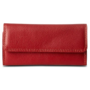 Travelon Leather Safe ID Colour Block Clutch Wallet, Red