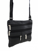 Black Leather Cross-Body Travel Bag with Adjustable Nylon Strap