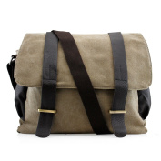 Men's Vintage Canvas Leather Satchel Travel School Military Shoudler Bag Messenger Briefcase Bag - Green