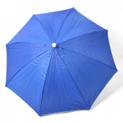 Fishing Camping Outdoor Dark Blue Silver Tone Polyester Umbrella Hat Cap