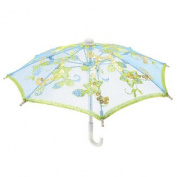 Blue Embroider Flower Pattern Foldable Mini Lace Umbrella Parasol for Child