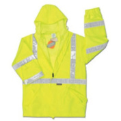 River City Rainwear 3X Hi-Viz Lime Luminator PRO Grade Polyester And Polyurethane Class III Rain Jacket With Double Stitched And