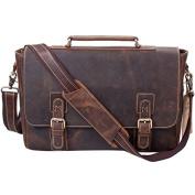 S-ZONE Men's Crazy-Horse Leather Business Briefcase shoulder laptop Bag