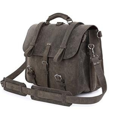 Mens Thick Top Layer Real Cow Leather Outdoor Shoulder Briefcase Attache 43cm Laptop Bag Tote Grey