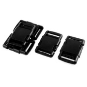 Luggage Plastic Strap Replacement Side Quick Release Buckle Clasp Black 5 Pcs