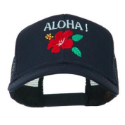 Hawaii State Flower with Aloha Embroidered Trucker Cap - Navy W44S33D