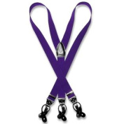 Men's PURPLE SUSPENDERS Y Shape Back Elastic Button & Clip Convertible