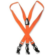 Men's ORANGE SUSPENDERS Y Shape Back Elastic Button & Clip Convertible