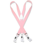 Men's PINK SUSPENDERS Y Shape Back Elastic Button & Clip Convertible