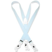 Men's LIGHT BLUE SUSPENDERS Y Shape Back Elastic Button & Clip Convertible