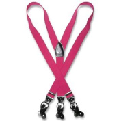 Men's HOT PINK FUCHSIA SUSPENDERS Y Shape Back Elastic Button & Clip Convertible