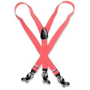 Men's CORAL PINK SUSPENDERS Y Shape Back Elastic Button & Clip Convertible