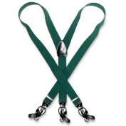 Men's FOREST HUNTER GREEN SUSPENDERS Y Shape Back Elastic Button & Clips