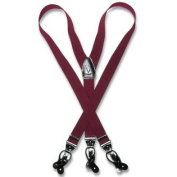 Men's BURGUNDY SUSPENDERS Y Shape Back Elastic Button & Clip Convertible