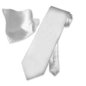 SILK Solid SILVER GREY NeckTie & Handkerchief Neck Tie Set