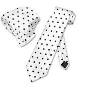 WHITE w/ BLACK Polka Dots NeckTie Handkerchief Matching Tie Set