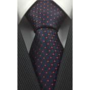 Dark Blue with Black and Red Grid Pattern Silk Necktie