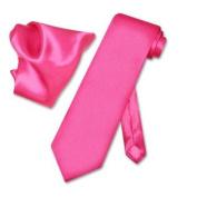 SILK Solid HOT PINK FUCHSIA NeckTie & Handkerchief Neck Tie Set