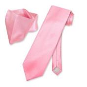 NeckTie Handkerchief Pink w/ Ribbed Lines Men's Neck Tie Set