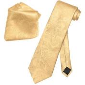 Gold Colour PAISLEY NeckTie & Handkerchief Matching Neck Tie Set