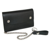 Mens Leather Deluxe Trucker Chain Wallet