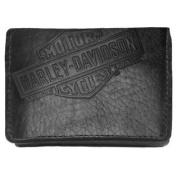 Harley-Davidson Mens American Bison Classic Tri-Fold Wallet, Black US1836L-BLK
