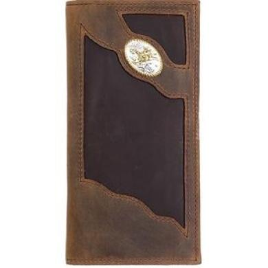 Western Wallet Men Leather Rodeo Bullrider Brown TW80C1