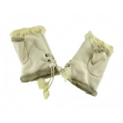 Ladies Winter White Faux Fur Fingerless Suede Gloves