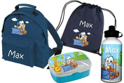 Set of 5 Kindergartenbackpack Classic + Lunch box Rosti Mepal + Gym bags + Drinking bottle with Name and Desired Motif from Mein Zwergenland - navy