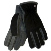 Isotoner Womens Black & Grey Lycra Stretch Gloves with Fleece & Suede Accents